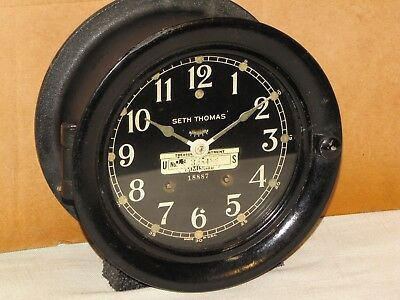 Seth Thomas Antique Ships Bell Clock~6 In ~Coast Guard~1944~Ww2 Liberty Ship