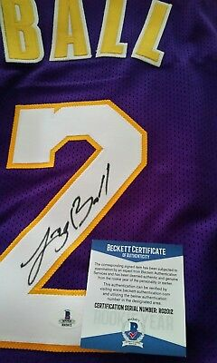 e08a0058f71 Lonzo Ball Signed Autographed Los Angeles Lakers Purple Jersey Beckett COA