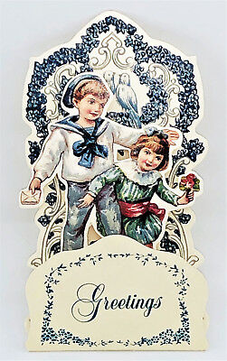 VINTAGE ANGEL CHRISTMAS CARD 5 Tier Hanger Tied w//Satin Ribbon MINT Shackman