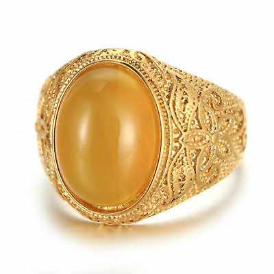 Men Vintage Gold Stainless Steel Oval Tiger Eye Stone Patterned Band Ring Gifts