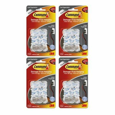3M Command Clear Large Cord Clips w/Clear Strips, Pack of 8