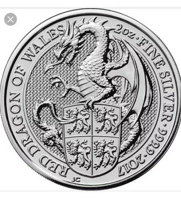 2017-2 oz Queen's Beast Red Dragon of Wales .. .9999 Fine Silver BU Coin