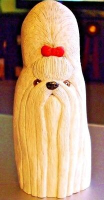 "Hand-carved White SHIH TZU with Red Bow Champion Show Dog 8"" Wood Carving"