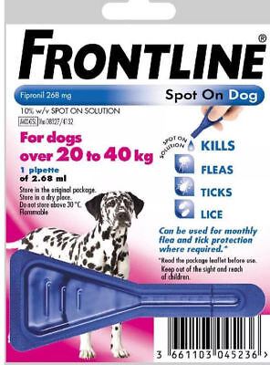 1 Pipette Frontline Spot On Flea And Tick Treatment For Large Dog 20-40kg