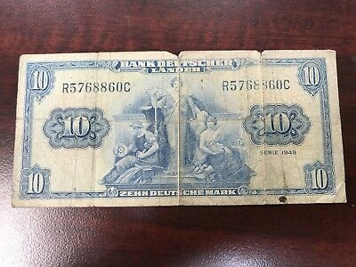 1949 German 10 Mark world foreign paper money poor condition better note