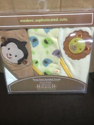 Kristen Hanah 3 Pack Hooded Baby Towels Monkey Elephant Lion Jungle Theme New