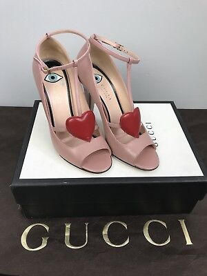 3c9c4f4bd Gucci T-strap Open Toed Heels Sand Pelle S. Cuoio Malaga Kid 37.5 7.5