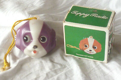 "Vintage 1970's ""TOPPY"" CARTOON DOGS FACE NOVELTY RADIO WITH MOVING EYES in Box"