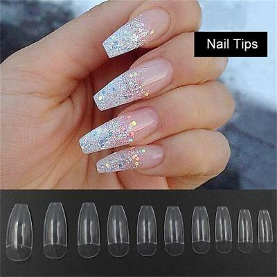 Long Fake Beauty Nail Art Tips False Cover Coffin Shape False Ballerina Nails