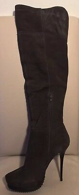 River Island 'Galleon Won' Thigh high Boot. Grey suede. Brand New UK5.