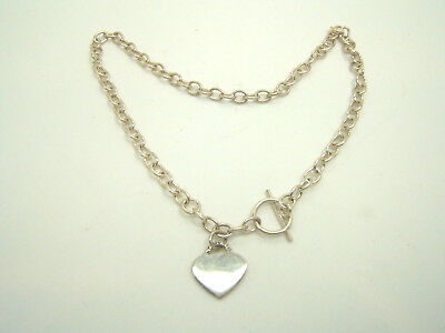 Sterling Silver Link Chain Heart Toggle Necklace Atimex 925  19g