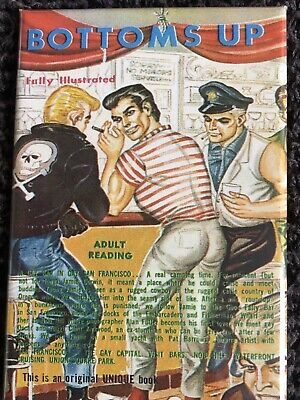 vintage gay sleaze FRIDGE MAGNET (top quality 2x3 approx) BOTTOMS UP