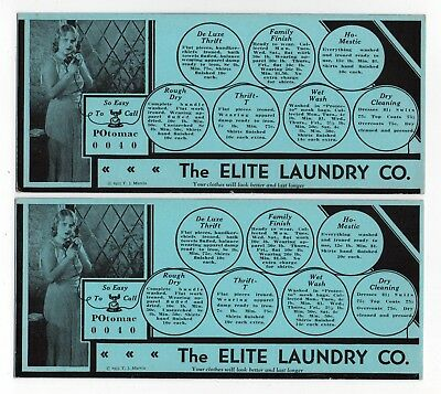 "2 ELITE LAUNDRY CO Ink Blotters - 3¾""x8½"", 1933, Clothes Washed & Ironed 12¢/lb"
