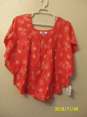 5c5869b29388 Time and Tru Women s Flutter Sleeve Top Shirt Coral Orange Floral Size XXL  NWT