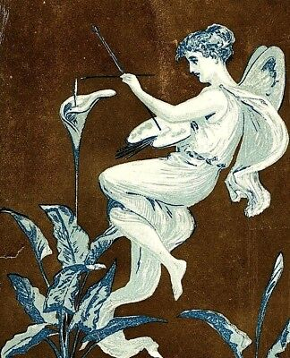 1870's Ornate Border Fantasy Fairy Palette Painting Victorian Trade Card P130