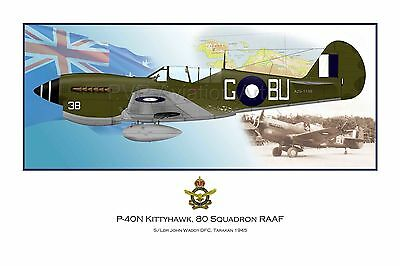WWII WW2 RAAF P-40 Kittyhawk Aviation Art Profile Photo Print - Series I #2 of 3