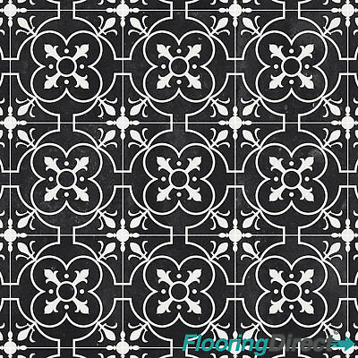 Black Victorian Tile Design Cushion Vinyl Flooring Lino Kitchen Bathroom 2 3 4m