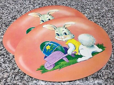 "(2) Vintage Unused 11"" Dennison Pink Easter Bunny Egg Diecut Decorations"