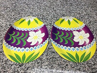 "(2) Vintage Unused 11"" Dennison Easter Egg Diecut Decorations"