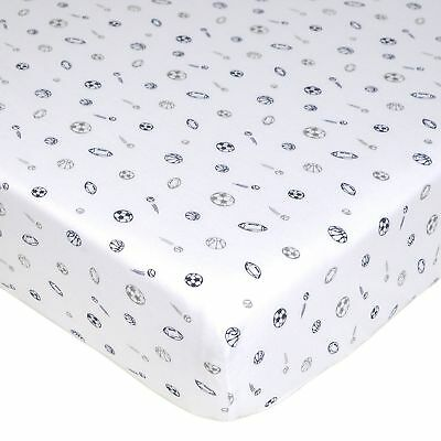 Printed 100% Soft Cotton Jersey Knit Fitted Crib Sheet Sports Theme Boys
