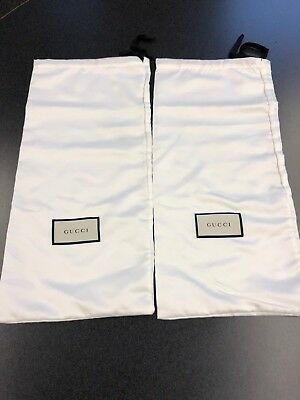 Gucci Lot Of 2 White Dust Bags With Black And White Label 17 X 8 Inches