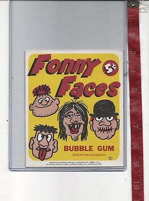 Vintage display 5c FONNY FACES gum machine card
