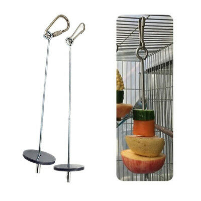 Parrot Bird Food Holder Support Stainless Steel Fruit Spear Stick Meat Skewer BE