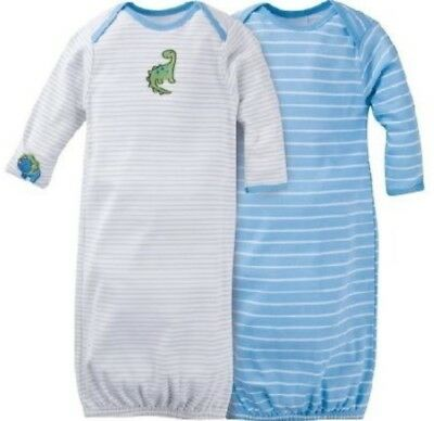GERBER BABY BOY Lap Shoulder Gowns 2-Pack - DINOSAUR Baby Shower Gift Blue NWT