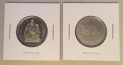 CANADA 2017 New 2x50 cents KIT 150th Ann of Canada + Coat of Arms (BU From roll)