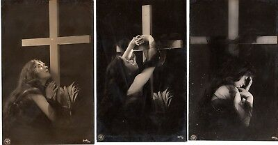 Vintage Real B/W Photo Postcards - Three postcards with Lady with Cross
