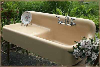 ONCE IN A LIFETIME! Amazing Salmon Color Vintage Antique Farmhouse Farm Sink