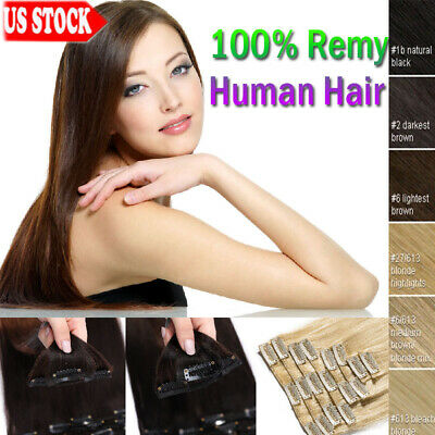 "7A 100% Clip in Remy Human Hair Extensions Full Head Weft 14"" 18"" 22"" 24""inch RW"