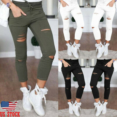 Women Skinny Ripped Holes Jeans Pants High Waist Stretch Slim Pencil Trousers US