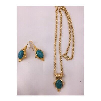 22 Karat Gold Plated Egyptian Revival Cleopatra Turquoise Pendant Earrings Set
