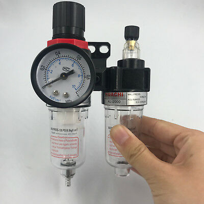 1/4'' Air Compressor Oil Water Regulator Filter Pressure Gauge Moisture Trap