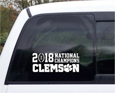 "Clemson Tigers 2018-19 NCAA National Champions Custom Vinyl Decal 10"" wide White"