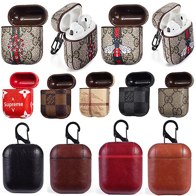 Luxury Airpods Protective Case PU Leather Zipper Cover Wireless Earphone Bags