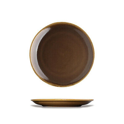 6x Plate 230mm Brown Bark Rnd Coupe Olympia Kiln Artisan Cafe Restaurant Plates