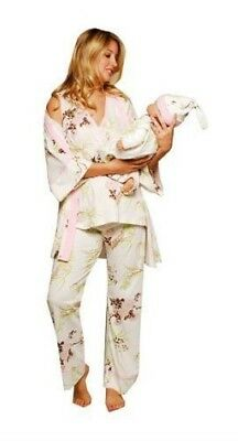 Olian Maternity 5 Piece Anne Floral Blossom Maternity Nursing Pajama Set Large