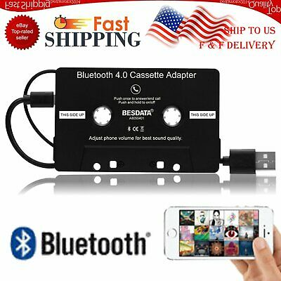 New Car Cassette Audio Adapter Wired Bluetooth 4.0 Music Audio Stereo Converter
