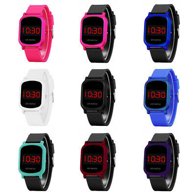 Boys Girls Digital Display LED Electronic Touch Screen Sports Wrist Watch Proper