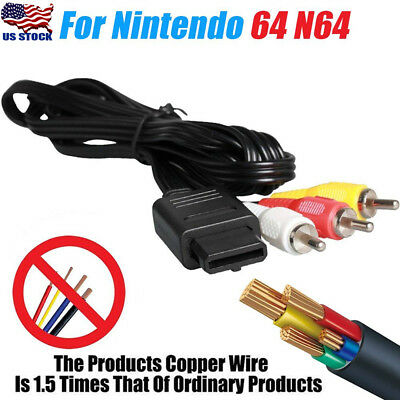 For Nintendo 6ft 64 N64 AV TV Game Stereo DVD Audio Video A/V Cord Wire Cable US