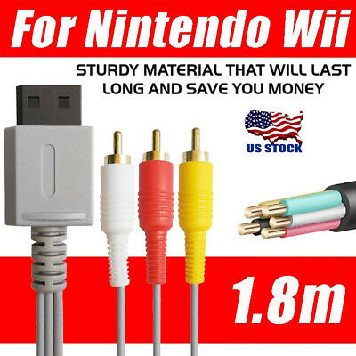 Audio Video AV Composite 3RCA Cable TV Lead Wire For Nintendo Wii Game US STOCK