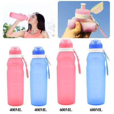 400/600ml Flexible Travel Kettle Collapsible Silicone Sport Water Storage Bottle