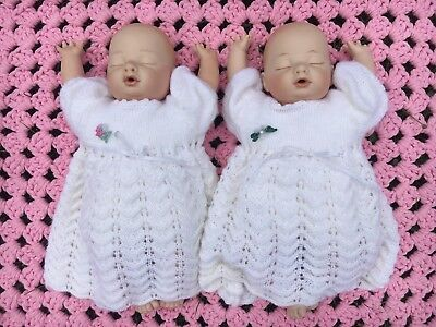 2 Beautiful Porcelain Baby Dolls Twins Sisters Knitted White Dress Hans Made