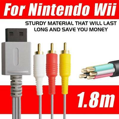 Audio Video AV Composite 3RCA Cable TV Lead Wire For Nintendo Wii Game Gold Plt