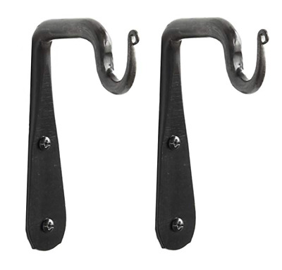 Wrought Iron Hook Hand Forged Wall Black Rustic Farmhouse Cottage 90 Bracket