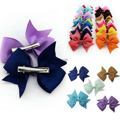 20pcs Baby Girls Solid Ribbon Hair Side Accessories Big Bow Band for Toddler