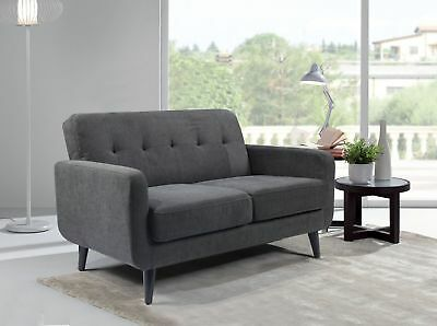 Grey Fabric Sofa 2 Seater Compact Small. Free Next Day Delivery.