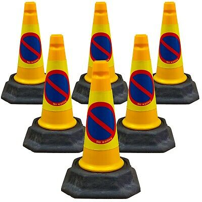 "Pack of 6 - Yellow ""No Waiting/ No Parking"" Traffic Cones (500mm)"